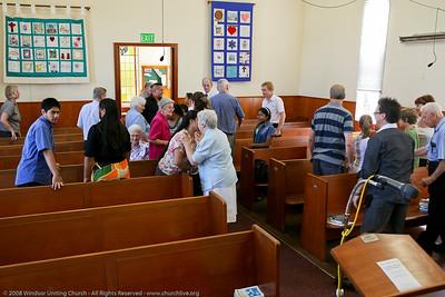 Passing the Peace - churchlive.org - Windsor Uniting Church, Brisbane, Queensland, Australia, 2008.