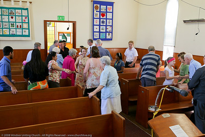 Passing the Peace - churchlive.org - Windsor Uniting Church, Brisbane, Queensland, Australia, 2008.