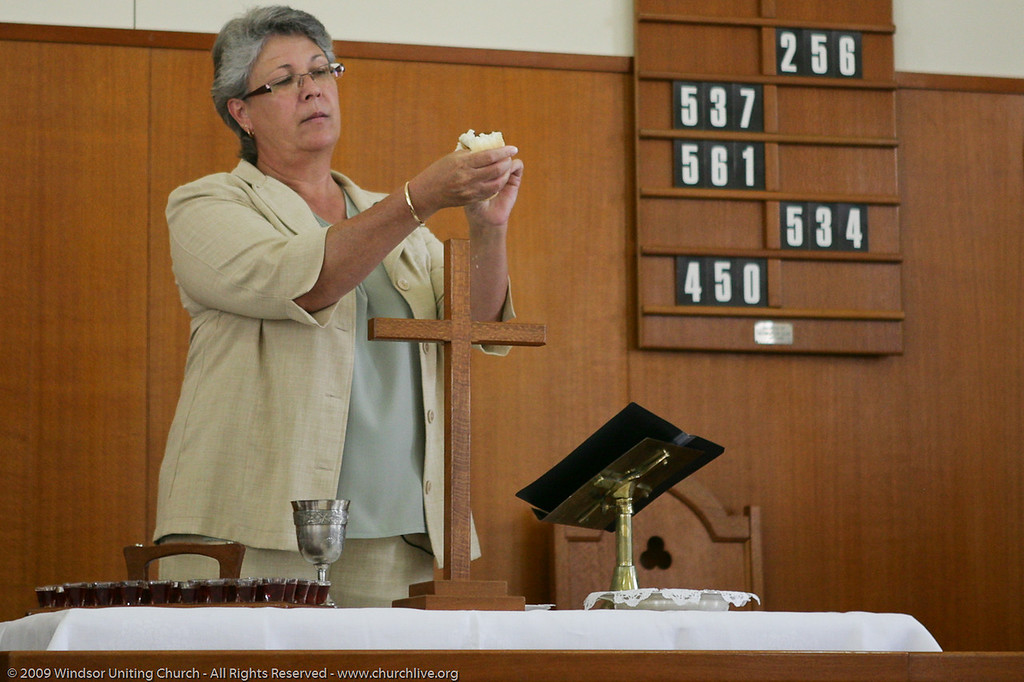 Celebrating Holy Communion - churchlive.org - 'Step into the Light' - Windsor Uniting Church, Brisbane, Queensland, Australia.