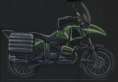 THE BOYSCOUT DREAM totally oposite from the blue bike,space for everything,tanks double redundant everything,notice the truckin the beak,integrated tank side bags on the kevlar tank&head guards
