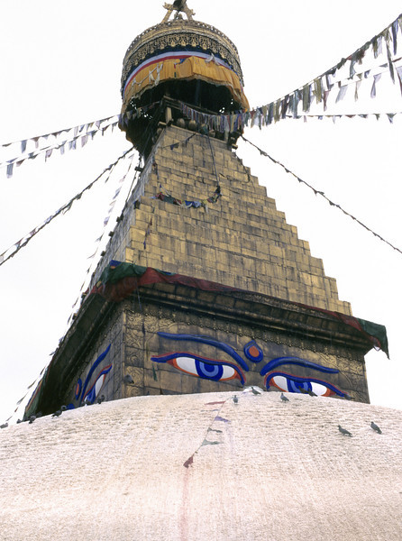 When the thought of the internal  and the external as 'I' and 'mine'  has perished, grasping ceases.  And through that cessation, birth ceases. –Nagarjuna <i> L1069 stupa, Kathmandu </i>