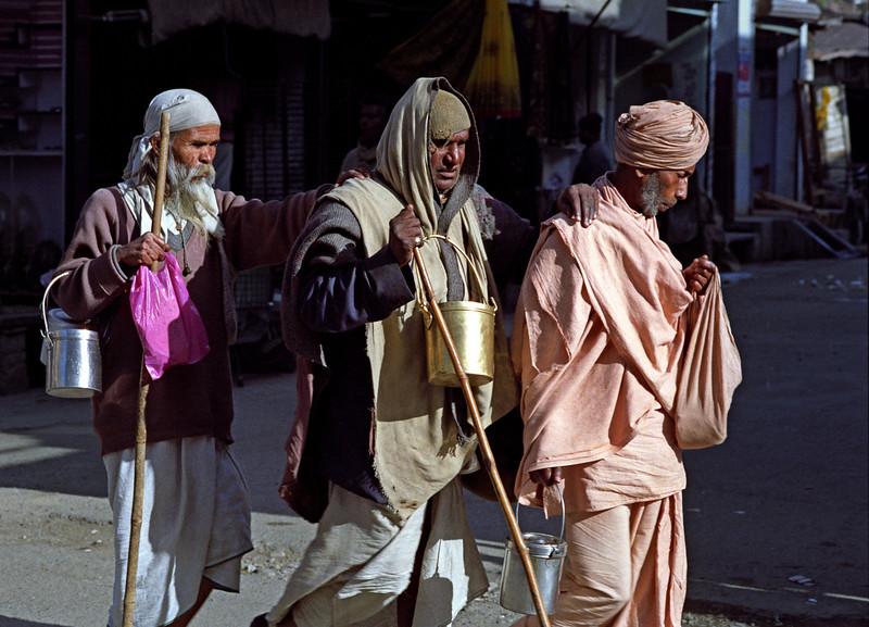 Every step I take in the light is mine forever. —Swami Vivekananda <i> L2734 blind sadhus, Rishikesh </i>