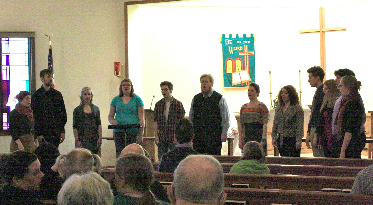 """""""Christus Chorus"""" of Concordia University, St. Paul, Minnesota, as they contributed to Sunday morning services at Eternal Hope Lutheran Church, Brooklyn Park, Minnesota, February 19, 2012."""