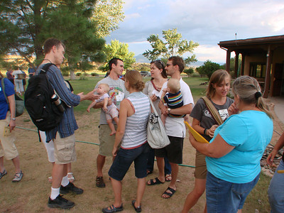 "John Philip and Ali Newell meet young adult participants in the retreat, ""To the Home of Peace: A Spirituality for Change"" during the opening ceremony of the week at Ghost Ranch, Abiquiu, New Mexico. http://www.salvaterravision.org/  http://www.ghostranch.org/"