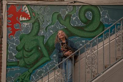Herchurch, installation of first panels of Sybil Erden's Goddess mural