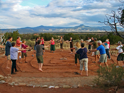 "Ali Newell leads participants in ""Body Prayer,"" Heart Labyrinth, Casa del Sol, Ghost Ranch, Abiquiu, New Mexico, photo by Larry Hastings http://www.ghostranch.org/"