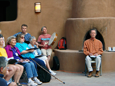 David Poole, Ali and John Philip Newell leading morning chants, Agape Center, Ghost Ranch, Abiquiu, New Mexico, photo by Larry Hastings http://www.ghostranch.org/
