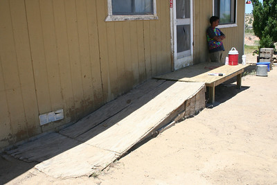 For one of our work projects, we replaced this dangerous ramp with a new deck and sturdier ramp so that Mrs. G could safely leave her home