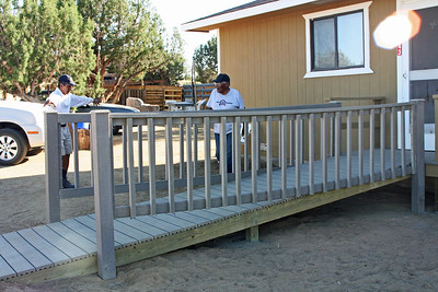 We replaced a dangerous ramp with a new deck and sturdier ramp so that Mrs. G could safely leave her home