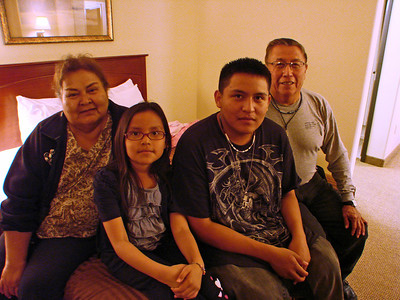 Our Navajo guides, Emma and John Henderson, with their grandchildren, Dru and John, Jr.
