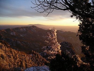 sunset  changing the color of  Sandia Peak