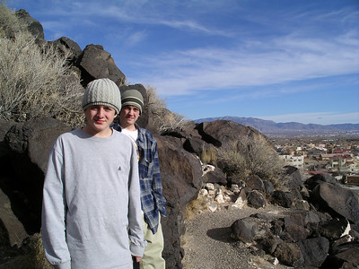 Kenneth and Alex on Petroglyph Trail overlooking Albuquerque
