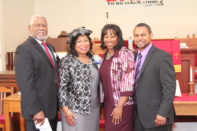 Rev Dr. James T. Robertson, Beverly Robertson, Renita Burns and Pastor Rodney Burns