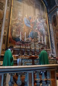 Fr. Nielsen celebrating Mass in St. Peter's, Fr. Gadenz on left.