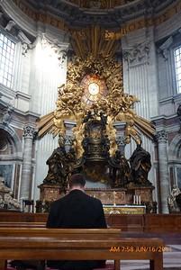Chris Gernetzke praying Office at altar of the Holy Spirit.