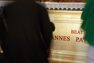We are allowed to kiss the front of John Paul's tomb - what a privilege!