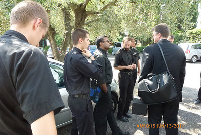 Waiting for bus: Danny, Scott, Justin, Nathan, Raj, Fr. John