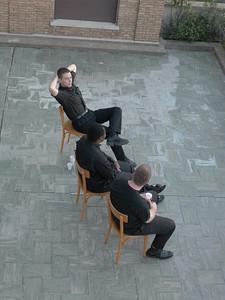 Ryan Koster, Tafadzwa Kushamba, and Bryan Amthor relaxing