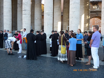Waiting in line to enter St. Peter's Pentecost morning.