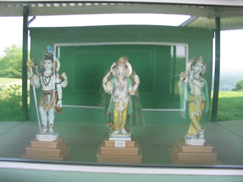 Lt to Rt: Lord Siva (as Shankara), Lord Sri Ganesha, Sri Lord krishna, Yogaville, VA