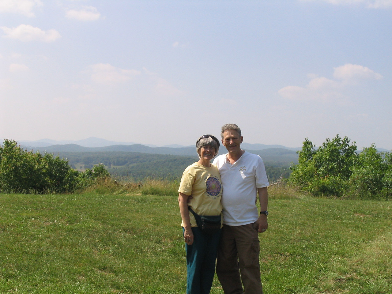 Bonnie and William Osborn with a view of the Blue Ridge Mountains in the background.  May 2006.