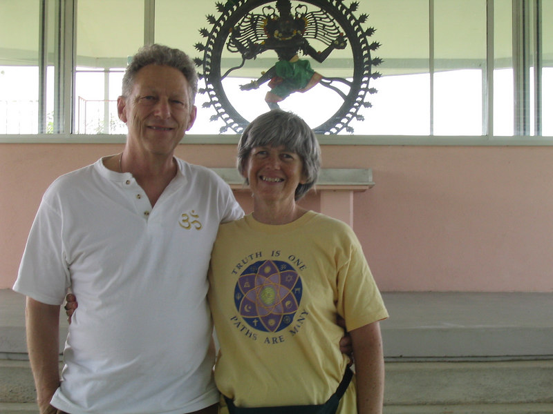 Bonnie and William Osborn visit the Lord Nataraja Shrine at Yogaville, VA May 2006.
