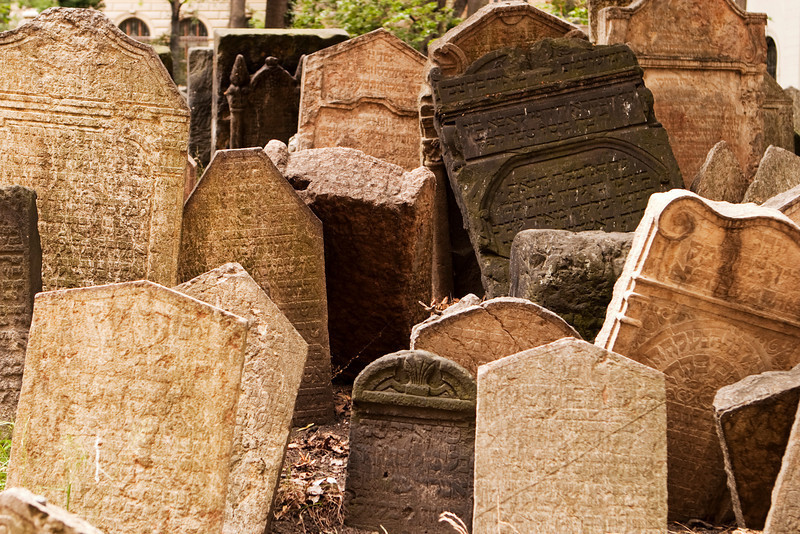 A view of part of the Josefov cemetery in the old ghetto of Prague. The Jewish cemetery, with the uneven headstones carved in Hebrew, represents centuries of history that has been preserved.