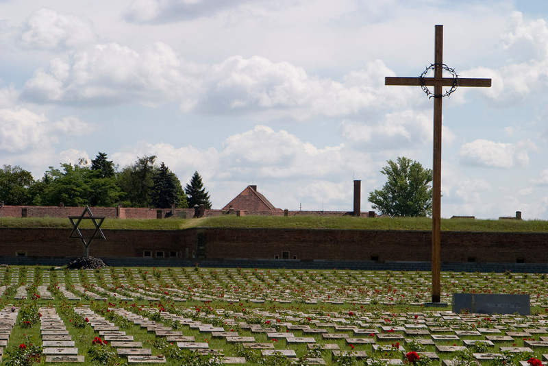The Holocaust Memorial outside the old prison camp at Terezin.