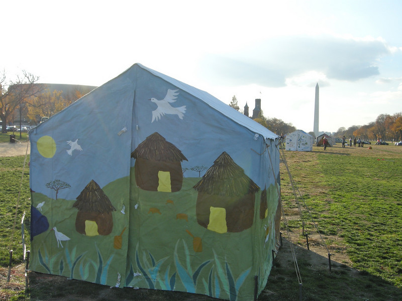 our tent all set up on Friday, Nov. 7 thanks to Judy, Jack and some Utah teenagers.
