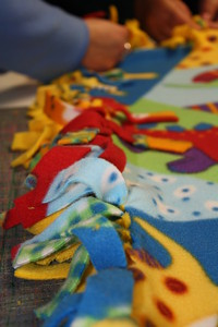 Making a fleece quilt for Concordia VBS, summer 2009, 3-19-09