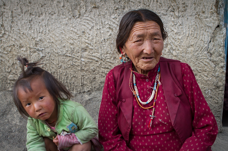 Grandmother and grandchild, Langza village (Spiti).
