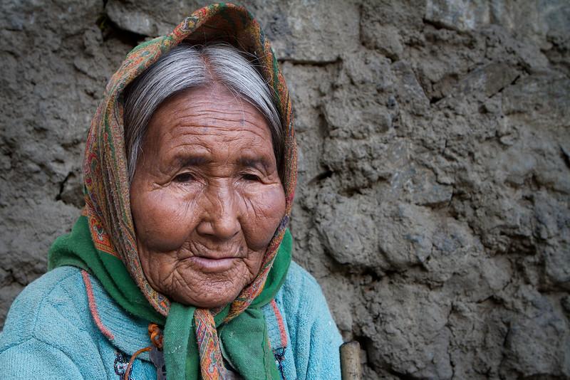 Blind lady. Dhankar village (Spiti).