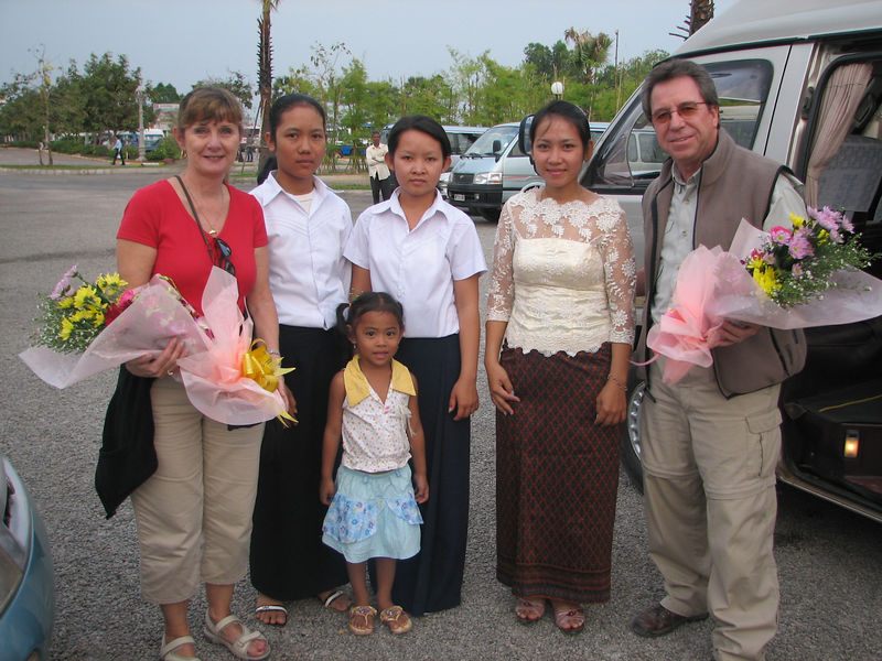 Our visit to the Spitler School Project began on Feb. 13 when we arrived in Siem Reap after an 11-day tour of Vietnam.  Sarin, his wife Mary, daughter Vita, and two of the school teachers were at the airport to meet us with lovely flowers.
