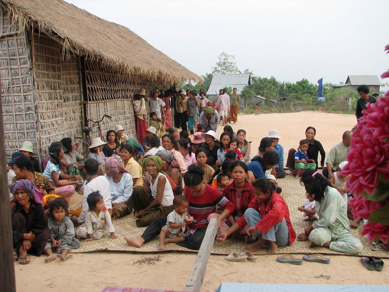 On the second day of our visit.  The villagers gathered for a planned program.