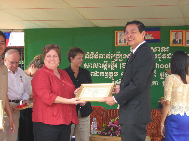 Kay, Cheryl, and Melissa received certificates of appreciation from the Cambodian Ministry of Education
