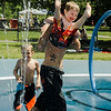 After a few chilly days of rain, Mark and Caleb Whitney, 2, along with Chase Couture, 6, cool off at the splash park at Parkhill in Fitchburg as temperatures rose into the 80s again on Wednesday, July 26, 2017. SENTINEL & ENTERPRISE / Ashley Green