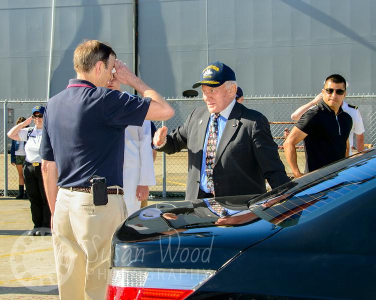 Hornet Trustee Bob Fish Saluting Buzz Aldrin