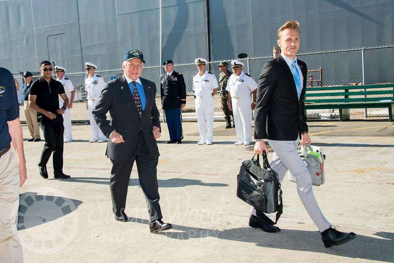 Buzz Aldrin Arriving at Splashdown 45
