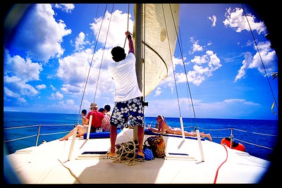 Off the coast of Cozumel, our small crew takes us out to sea to snorkel and just relax with food, music, and cocktails.