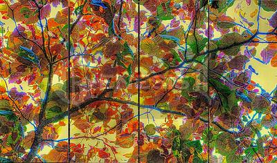 Leaf Mosaic - 4 panels - each 15x36