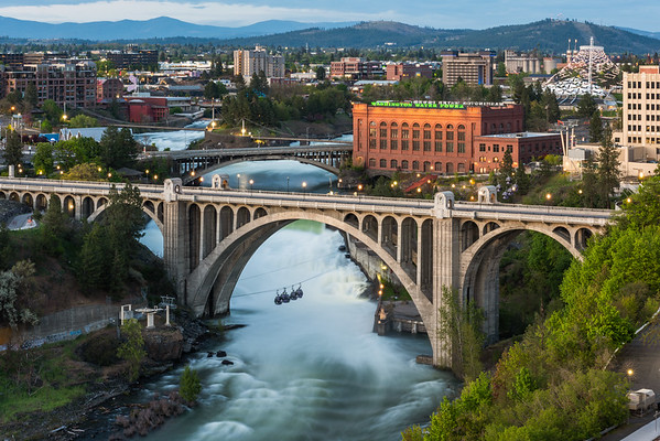 Spokane Falls at Dusk
