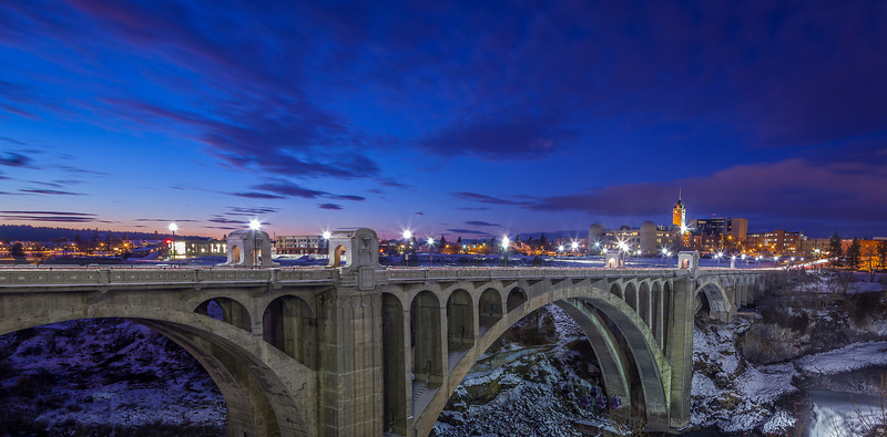Monroe Street Bridge in winter