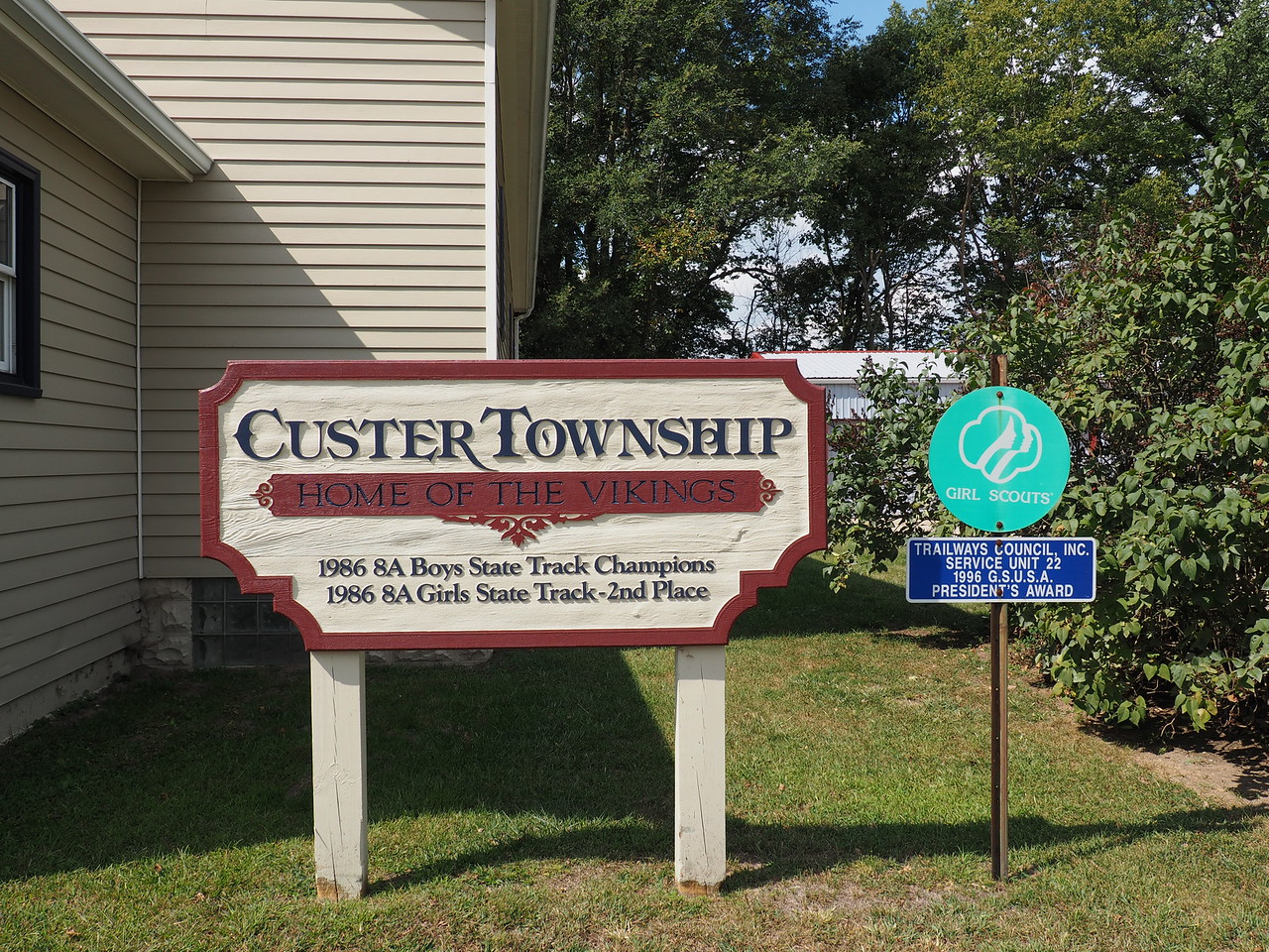 Custer Township sign