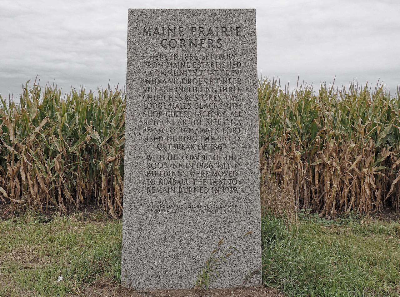 Maine Prairie Corners historic marker