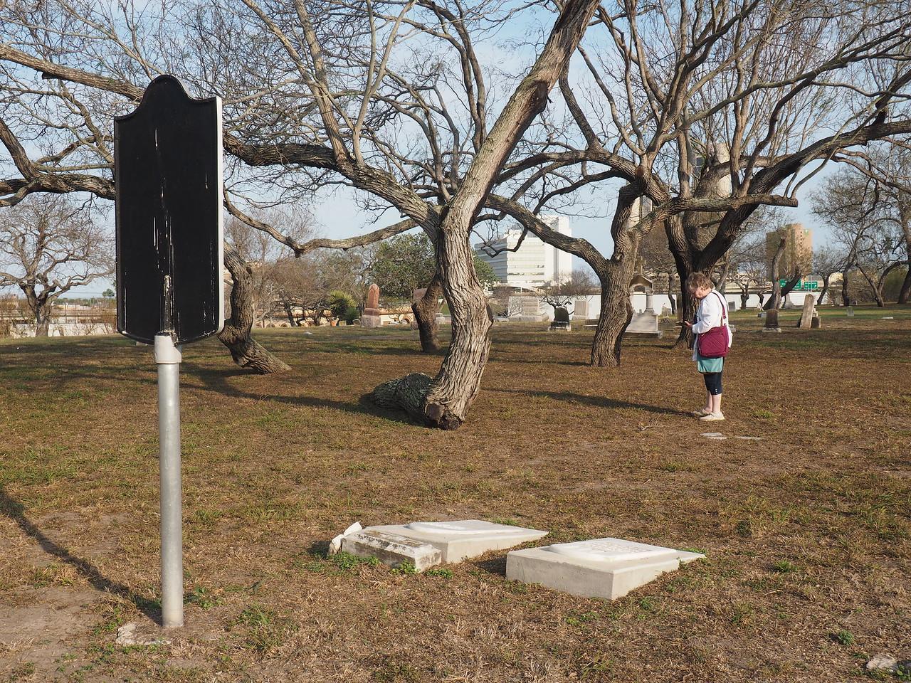 Back side of John Dix historic marker with John and Mary Dix gravestones