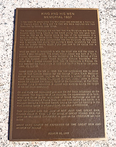 Historic Marker for the King and His Men Memorial in Refugio