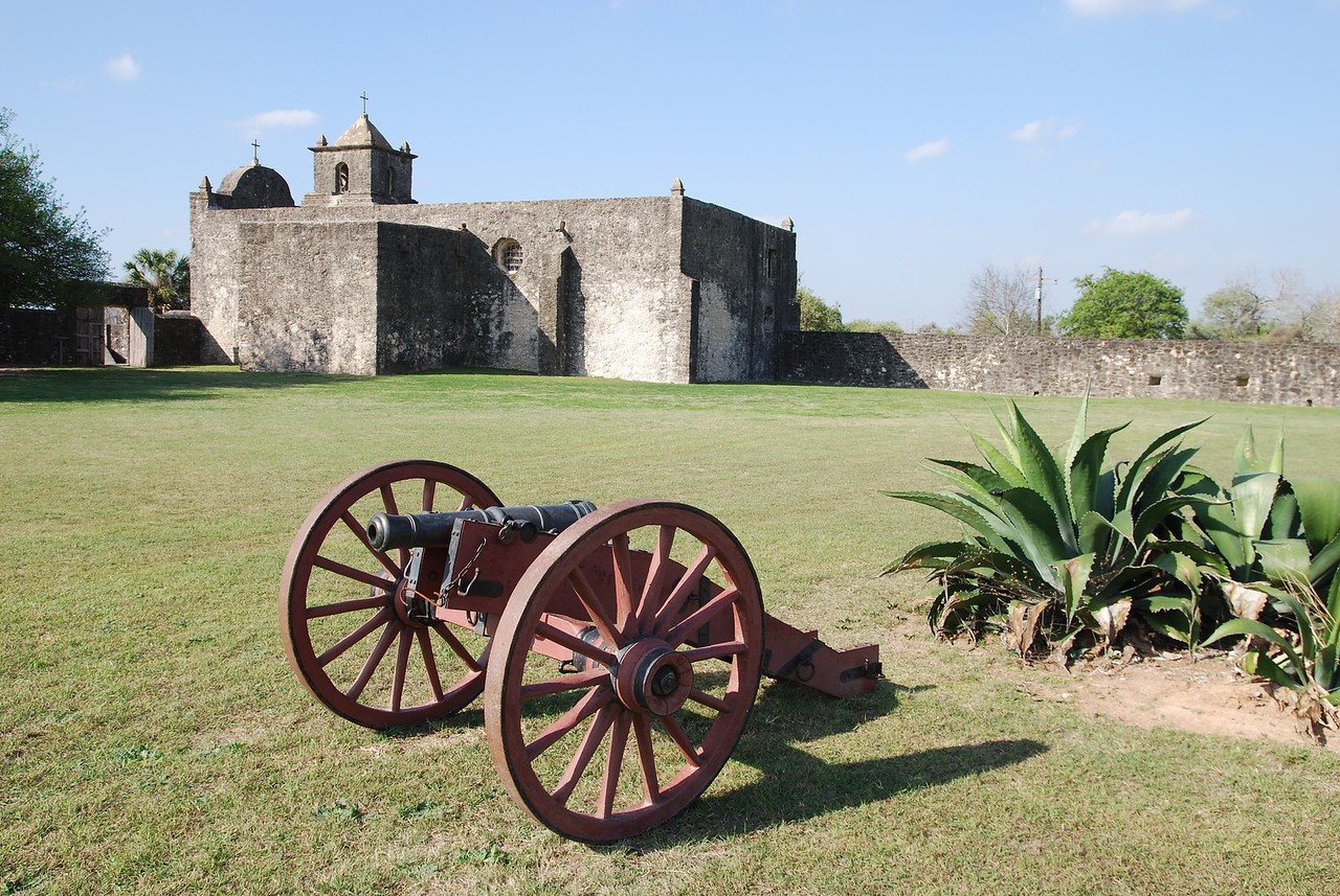 Presidio La Bahía parade ground, with the chapel in the background.