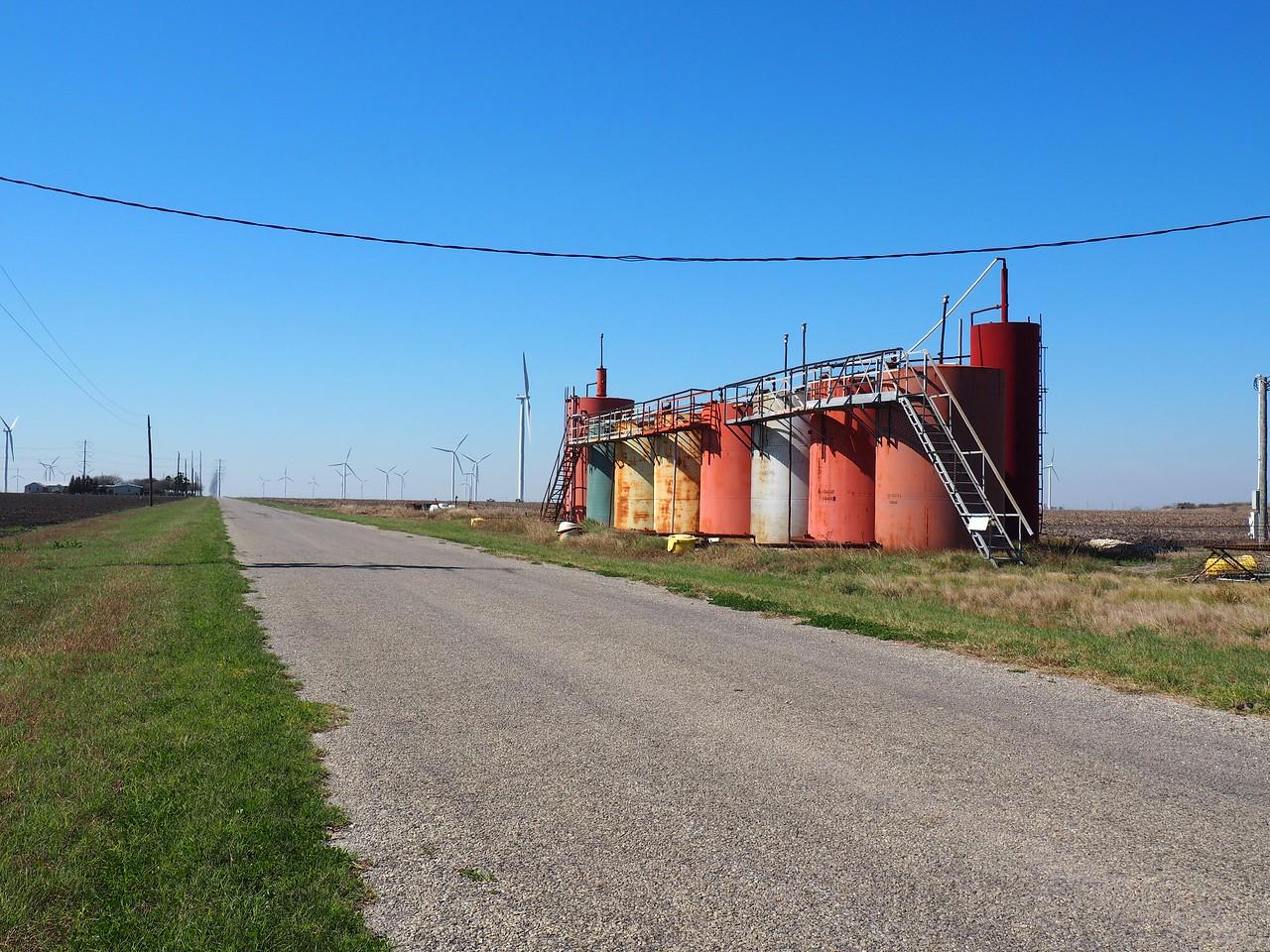 Storage tanks southwest of Taft