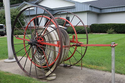 Old firehose reel at the Richland Township Hall