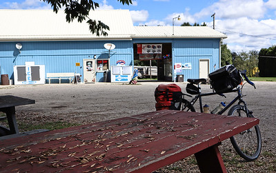 AFter (finally) getting off the bicycle trail, I rode SR-212 to Somerdale and stopped at the Town House Drive-Thru and General Store where I ordered a ham sandwich and ate it at a picnic table out back.